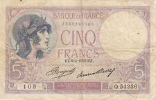 Billet banque 5 Frs VIOLET 06-04-1933 HZ Q.54256 état voir scan