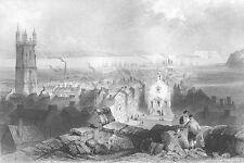 Wales, CARDIFF Caerdydd City Hall Castle Church ~ Old 1840 Art Print Engraving