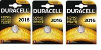 3 piles Lithium CR2016, DL2016  DURACELL 3V