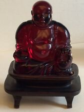 Gorgeous Antique Chinese Bakelite Cherry Amber Buddha Figurine Sculpture,tested