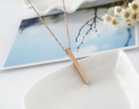 18K Rose Gold Filled Women's Solid Plain Lucky Bar Pendant Charm Necklace Chain