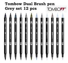 Tombow Dual Brush Pen set: Grey colour set 12 pcs