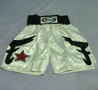 SHORTS FAIRTEX MUAY THAI FIGHT F MMA KICK BOXING WHITE ADULT SIZE M SATIN