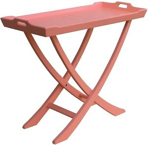 TRADE WINDS CHEDI CONSOLE TRADITIONAL ANTIQUE TRAY PAINTED CORAL PINK M