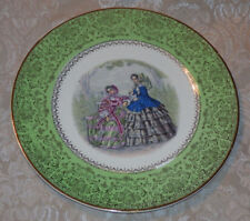 Vintage Green PLATE 23 Karat Gold Accents Imperial Salem China Victorian Women