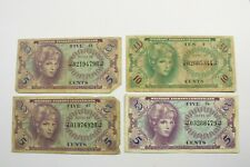 4 U.S. MILITARY PAYMENT CERTIFICATES 1965 ND SERIES 641  KP# M58 AVERAGE