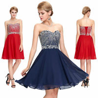 Ladies Formal Short Beaded Wedding Party Prom Bridesmaid Evening Cocktail Dress