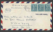 1947 COVER PREXY 5c #810 X 3 = 15c AIRMAIL RATE TO GERMANY