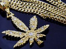 "Gold Cuban 36"" Chain Hip Hop Iced Out Crystal Weed Marijuana Cannabis Pendant"