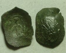 Rare ancient BYZANTINE coin scyphate Mary Victory Christ cross Isaac II Angelus