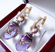 SALE ! RUSSIAN AMETHYST made of STERLING SILVER 925  EARRINGS with ENAMEL