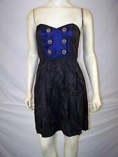 Reko Blue Black Gold Sweetheart Strapless Dress Juniors Size XS 0 1