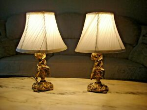 Pair of Vintage Gilt Brass Cherub Small Table or Bedside Lamps