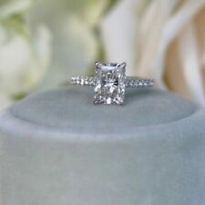 2 Ct Lab-Created Radiant Cut White Diamond 14k White Gold Engagement Ring