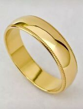 Solid 14K Yellow Gold 6 MM Size 8 Milgrain Wedding Ring Band Mens Womens