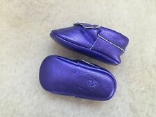 Lulu Moccs Genuine Leather Baby Girl Moccasins Crib Shoes Size 0 - Purple
