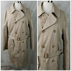 Lands End Trench Coat Mens size Large 42-44 Tall Wool Liner Business Career Belt