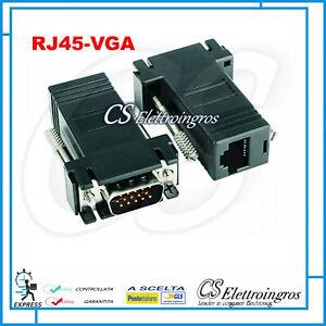 2PZ ADATTATORE CONVERTITORE DA VGA MASCHIO A LAN VGA LAN CAT 5 5E RJ45