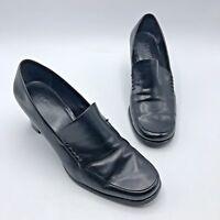 Franco Sarto Women Black Leather Block Heel Slip On Shoe Size 9M Pre Owned