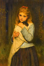 Dream-art Oil painting Charles Sillem Lidderdale - a foster mother girl with dog