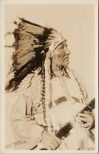 Indian Chief w/ Rifle Indigenous Native American Gowen Sutton RPPC Postcard E66