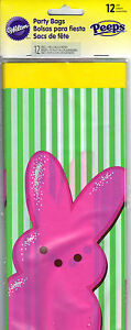"""Wilton Pink Bunny Peeps Party Treat Bag 4"""" x 2"""" x 9.5"""" Easter Baby Showers *New"""