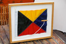 Vintage Maritime Nautical Coastal Zulu Signal Flag Beautifully Framed