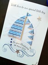 Personalised Handmade 'Sail Boat' Birth/Christening/ Birthday Card