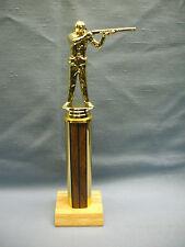 gold Male hunter shooter trophy wood look column wood base award