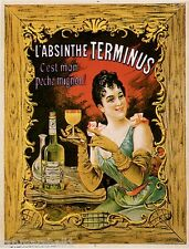 1900's French L' Absinthe Terminus Food & Wine Advertisement Art Poster Print