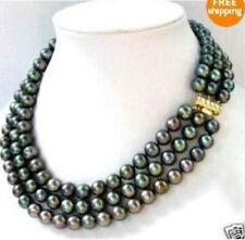 Genuine Beautiful 3 row 8-9MM Black akoya Please wait Imag Pearl Necklace