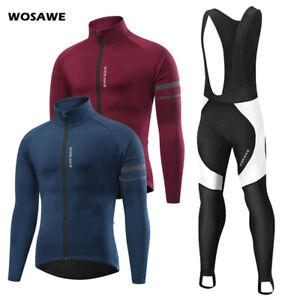 Mens Cycling Sets Winter Thermal Fleece Jacket Gel Padded Bib Pants Windproof