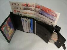 Cartera de cuero suave con bolsillo para monedas y tarjetas de crédito secciones Negro