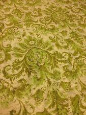 Vintage Retro Fabric Pattern 6 yards Waverly Fabrics Damask Green Via Veneto