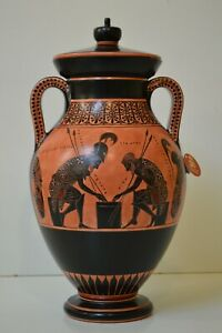 Greek Pottery, Hand made replica, Black Figure,Achilles & Ajax playing pessous