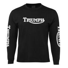 New Black Triumph Motorbike Long Sleeve T Shirt 100% Cotton Size S -5XL