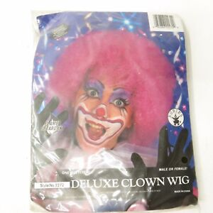 Vtg 90's NOS Deluxe Pink Clown Wig Rubie's Costume Washable Unisex New