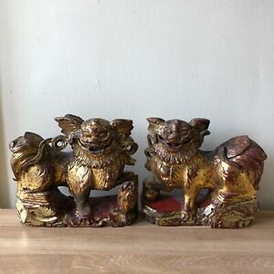 Lovely Antique Chinese Carved Wood Gilded Pair Foo Dogs Ching Dynasty