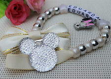 Personalised Stunning ivory minnie mouse Dummy Clip Chain ideal for reborn dolls