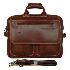 """J.M.D Men's Cow Leather Briefcase 15"""" Laptop Handbag Business Trip Messenger Bag"""