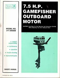 SEARS GAMEFISHER 7.5 HP OUTBOARD MOTOR MODEL 217.685830 OWNERS PARTS MANUAL (42)