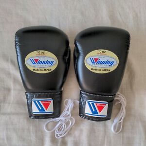 Winning Lace-Up Boxing Gloves 10oz Black Pre Owned