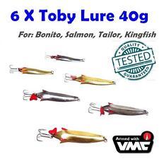 6X 40g Toby Metal Spoon Jig Casting Lures  Bonito Tailor Salmon Kingfish Tuna