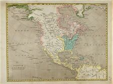 OLD ANTIQUE MAP NORTH AMERICA CARIBBEAN  c1807 ENGRAVING by KIRKWOOD COLOURED