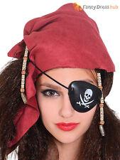 Ladies Pirate Bandana Wig + Eyepatch Adults Buccaneer Fancy Dress Accessory