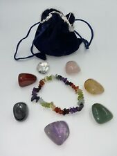 7 Chakra Stones Healing Crystals + 7 Chakra Bracelet with Pouch Description Card