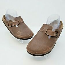 Birkenstock Birki's Boston Brown Birko Flor Clog Slides Size 38 US L7 M5 Narrow
