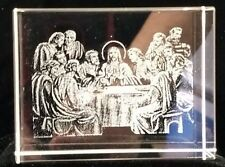 Clear Laser Etched Last Supper Jesus and 12 Disciples Glass Cube Rectangular