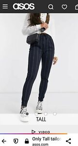 ONLY Long Stipe Pants Size M Navy Blue High Waisted Elatic Tie Up TALL Women