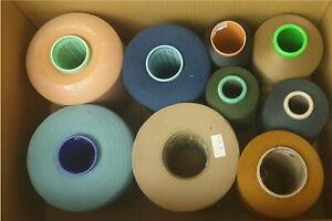 (1,25€/kg) Paket Beilaufgarn dünn gemischt Garn Wolle Stricken 9x Konen 10kg /P2